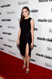 Bailee Madison put on a leggy display in this high-slit, zip-embellished LBD during the Marie Claire Fresh Faces party.