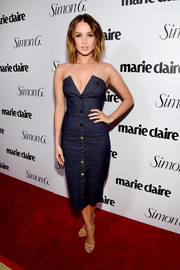 Camilla Luddington was a head turner in a figure-hugging, cleavage-flaunting denim dress by Cushnie Et Ochs at the Marie Claire Fresh Faces party.