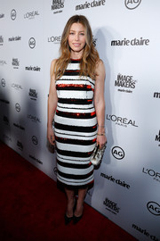 Jessica Biel cut a sleek figure in her black and white striped dress that had sequined red panels at Marie Claire's Image Maker Awards.