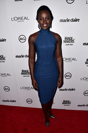 Lupita Nyong'o walked the red carpet at the Marie Claire's Image Maker Awards in a highneck blue Mugler dress.