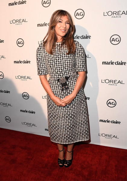 Nina Garcia chose a black-and-white printed midi dress for Marie Claire's Image Maker Awards.