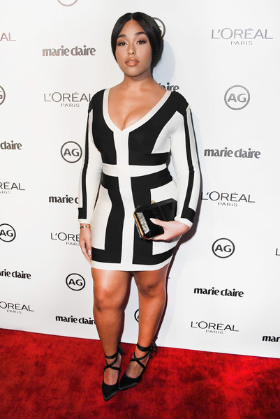 More Pics of Jordyn Woods Hard Case Clutch (1 of 4) - Clutches Lookbook - StyleBistro [clothing,cocktail dress,dress,fashion model,shoulder,fashion,carpet,red carpet,little black dress,joint,arrivals,actress jordyn woods,marie claires image maker awards,catch la,west hollywood,ca]