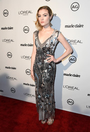 Skyler Samuels was vintage-glam in an embroidered silver satin gown during Marie Claire's Image Maker Awards.