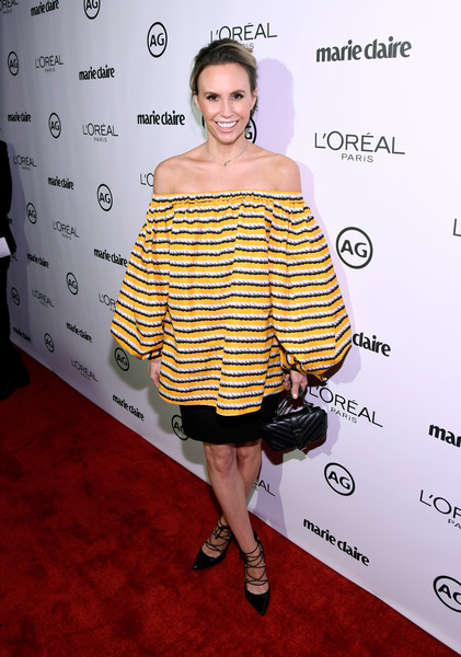 Keltie Knight worked a voluminous striped off-the-shoulder top during Marie Claire's Image Maker Awards.