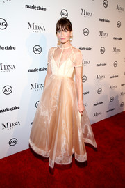 Michelle Monaghan cut a girly figure in a sheer-panel fit-and-flare gown by Alex Perry at the 2018 Image Makers Awards.