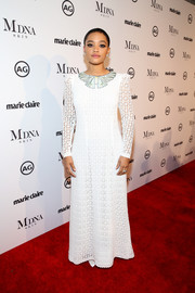Kiersey Clemons opted for a modest white lace gown by Giamba when she attended the 2018 Image Makers Awards.