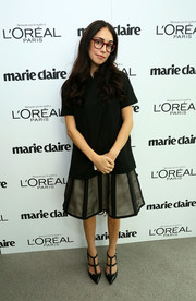 Audrey Gelman chose a no-frills black blouse for the Marie Claire Power Women Lunch.