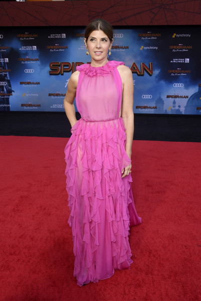 Marisa Tomei Evening Dress [red carpet,carpet,clothing,flooring,magenta,pink,fashion,dress,premiere,event,arrivals,marisa tomei,spider-man far from home,tcl chinese theatre,california,hollywood,sony pictures,premiere,premiere]