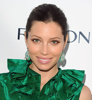 Jessica Biel showed off her jade green earrings which brought out her fierce green eyes.
