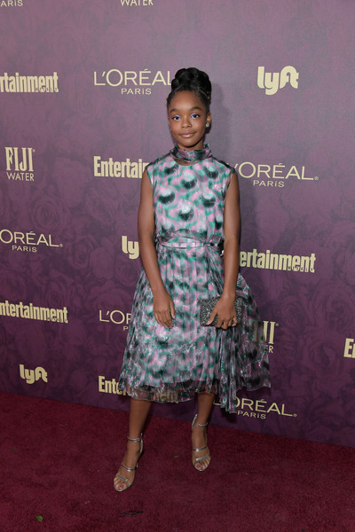 Marsai Martin Print Dress [clothing,red carpet,carpet,dress,fashion,premiere,flooring,fashion design,cocktail dress,arrivals,marsai martin,los angeles,california,sunset tower,entertainment weekly,loreal paris hosts,party,loreal paris,pre-emmy party]