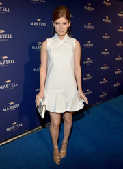 Kate Mara completed her cute ensemble with a pair of see-through Charlotte Olympia platform sandals.