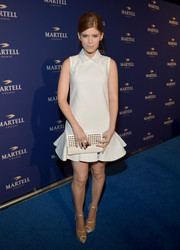 Kate Mara complemented her cute cocktail dress with a studded white clutch by Rebecca Minkoff when she attended the Martell Caractere launch.