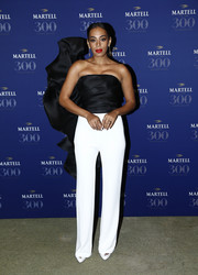 Solange Knowles looked like a single-winged butterfly in her black Stephane Rolland Couture strapless top during the Martell Cognac 300th anniversary party.