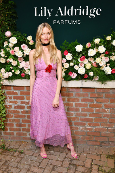Martha Hunt Sundress [photo,clothing,pink,dress,lady,blond,beauty,fashion,spring,shoulder,footwear,martha hunt,lily aldridge,the bowery terrace,new york city,bowery hotel,lily aldridge parfums launch event,launch event]