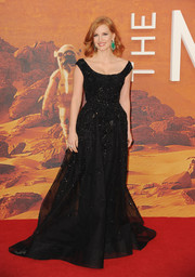 Jessica Chastain looked every bit like Hollywood royalty in a beaded black ball gown by Elie Saab Couture during the European premiere of 'The Martian.'