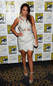 Chloe's pale gray dress was a totally futuristic piece for Comic-Con. It featured a criss-cross, cutout bodice and a funky asymmetrical skirt.