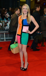 Emily Head went bold in this art-inspired geometric print dress at the 'Avengers' premiere.