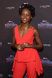 Lupita Nyong'o got blinged up with some statement rings by Douriean for the Black Panther: Welcome to Wakanda event.