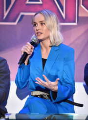 Brie Larson attended the 'Captain Marvel' press conference wearing a bright blue pantsuit by Dorothee Schumacher.