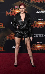 Halsey was tough-chic in a black leather jacket by Saint Laurent at the premiere of 'Captain Marvel.'