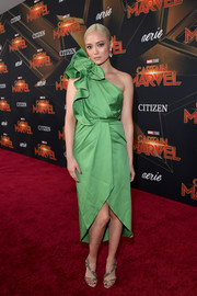Pom Klementieff looked ultra girly in a green one-shoulder dress with ruffle detailing at the premiere of 'Captain Marvel.'