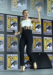 Scarlett Johansson styled her look with trendy PVC pumps by Gianvito Rossi.