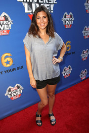 Jamie-Lynn Sigler completed her comfy outfit with black shorts.