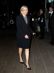 Diane Sawyer paired modern-looking black pointy pumps with a simple skirt suit for Marvin Hamlisch's memorial service.