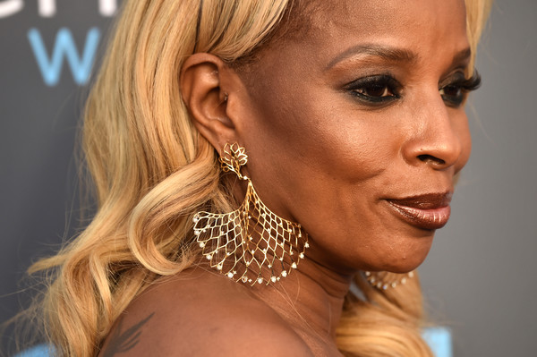 Mary J. Blige Gold Chandelier Earrings