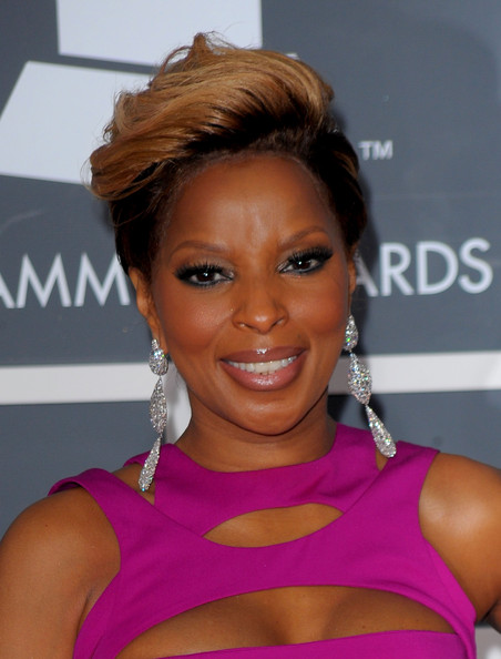 Mary J. Blige Dangling Diamond Earrings