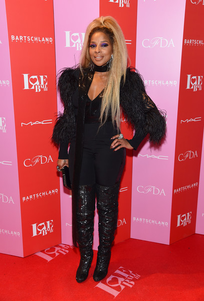 Mary J. Blige Jumpsuit [clothing,carpet,red carpet,fashion,long hair,flooring,footwear,suit,outerwear,event,mary j. blige,new york city,gotham hall,love ball iii]