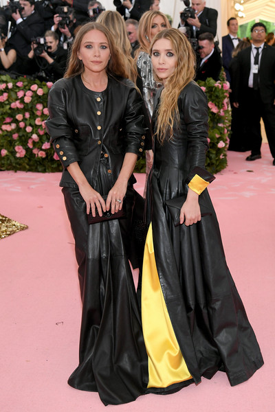 Mary-Kate Olsen Leather Jacket [clothing,carpet,red carpet,fashion,event,premiere,outerwear,flooring,long hair,gown,carpet,fashion - arrivals,mary kate olsen,ashley olsen,notes,fashion,red carpet,camp,metropolitan museum of art,met gala celebrating camp,kendall jenner,kylie jenner,mary-kate olsen,2019 met gala,the metropolitan museum of art,camp: notes on fashion,red carpet,the first monday in may,celebrity,camp]