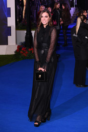 Amber Le Bon was goth-chic in a black button-front maxi dress at the European premiere of 'Mary Poppins Returns.'