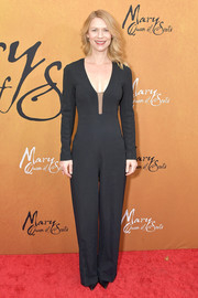 Claire Danes kept it low-key in a long-sleeve black jumpsuit at the New York premiere of 'Mary Queen of Scots.'