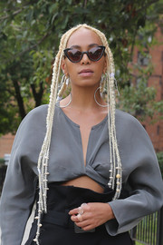Solange Knowles traded in her signature dark curls for these bleached braids when she attended the Maryam Nassir Zadeh fashion show.