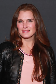 Brooke Shields styled her long hair in subtle waves for Justin Timberlake's concert.