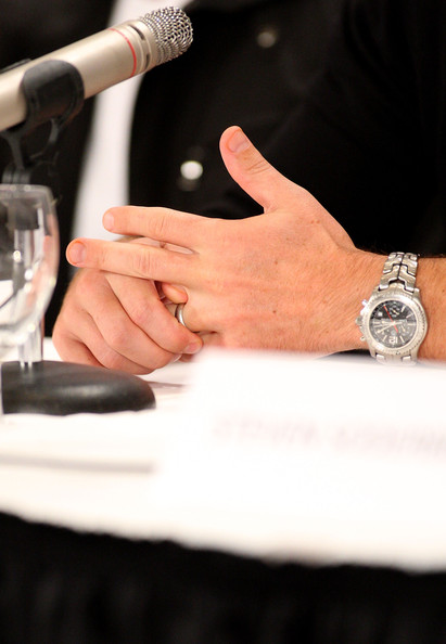 Matt Damon Titanium Chronograph Watch [hand,nail,finger,arm,ring,wrist,fashion accessory,jewellery,gesture,engagement ring,matt damon,the informant,press conference,press conference,canada,toronto,sutton place hotel]