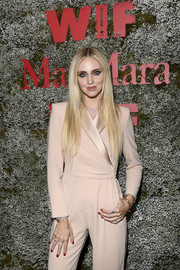 Chiara Ferragni's red nail polish added a feminine touch to her menswear-inspired look at the 2019 Max Mara Face of the Future event.