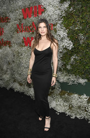Lake Bell teamed her dress with black ankle-strap sandals.