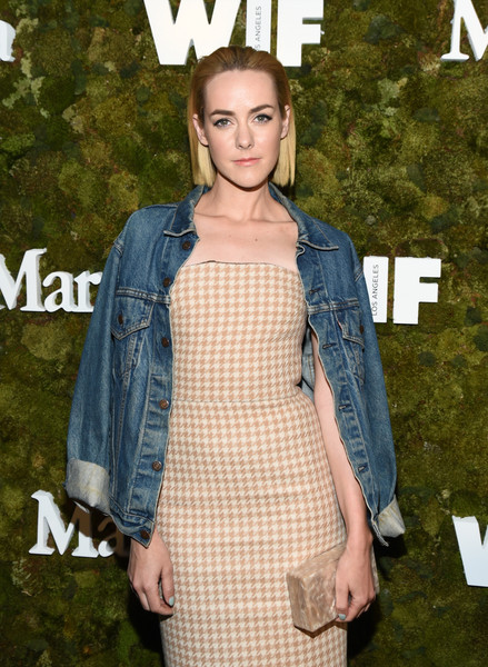 More Pics of Jena Malone Denim Jacket (1 of 3) - Jena Malone Lookbook - StyleBistro [max mara 2015 women in film face of the future,clothing,fashion,denim,dress,outerwear,street fashion,jeans,shoulder,premiere,textile,kate mara,jena malone,max mara celebrates,the 2015 women in film max mara face of the future award recipient,chateau marmont,west hollywood,california,max mara,event]