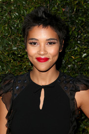 Alexandra Shipp rocked spiked hair at the Max Mara Face of the Future event.