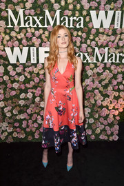 Katherine McNamara kept it ladylike in a printed fit-and-flare dress at the 2017 Face of the Future event.
