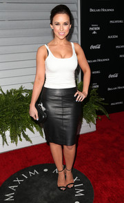 Lacey Chabert styled her tank with an edgy black leather skirt.