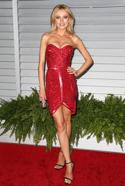Bar Paly was sexy-glam in a glittery, Art Deco-inspired red strapless mini during the Maxim Hot 100 event.