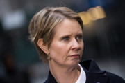 Cynthia Nixon went for a casual short 'do at the May Day protest.