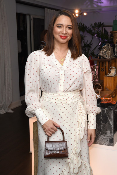 Maya Rudolph Leather Purse [maya rudolph,clothing,white,fashion,dress,product,fashion model,fashion design,suit,outerwear,formal wear,california,los angeles,chateau marmont,far party,haim]