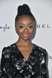 Skai Jackson slicked her hair back into a tight top knot for Maybelline's Los Angeles Influencer event.
