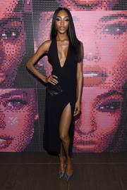 Jourdan Dunn smoldered in a deep-V black halter dress by Mugler at the Maybelline NYFW welcome party.