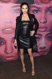 Adriana Lima rocked leather on leather at the Maybelline NYFW welcome party.