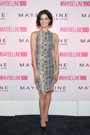 Jaimie Alexander showed her wild side with this gray and yellow python-print dress at the Maybelline 100th anniversary party.